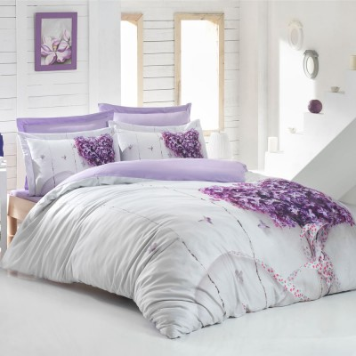 Комплект постельного белья 3D сатин «Lilac» Luoca Patisca