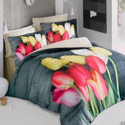 Комплект постельного белья 3D сатин «Tulip» Luoca Patisca