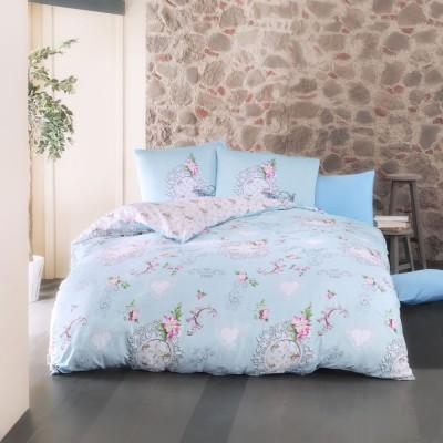 Комплект постельного белья ранфорс «Melory» голуб Luoca Patisca