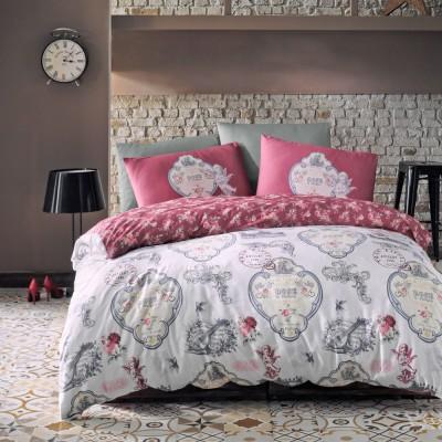 Комплект постельного белья ранфорс «Yoanna» темно-розовый Luoca Patisca