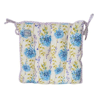 Подушка на стул «Голубая клетка» Прованс