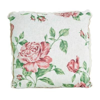 Подушка декор «Large pink Rose» с кружевом | Прованс