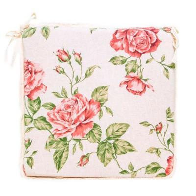 Подушка с кружевом на стул «Large pink Rose» Прованс