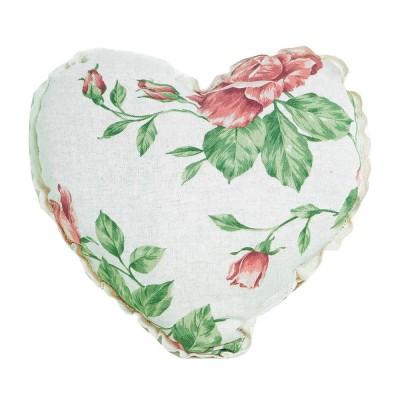 Подушка декор «Серце-Large pink Rose» с кружевом | Прованс