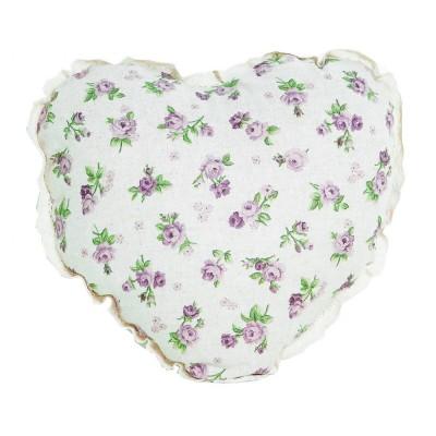 Подушка декор «Серце-Lilac Rose» с кружевом | Прованс