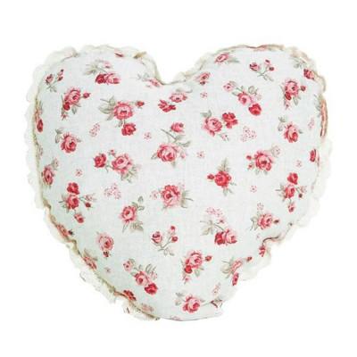 Подушка декор «Серце-Red Rose» с кружевом | Прованс