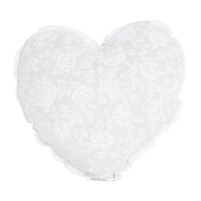 Подушка декор «Серце-White Rose» с кружевом | Прованс