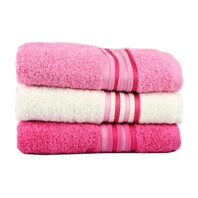 Набор полотенцев 3 шт. «Cotton» фуксия/розовый/крем | IzziHome - 50*90 см
