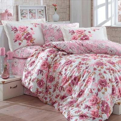 Комплект постельного белья поплин «Alessia» темно-розовый | Hobby
