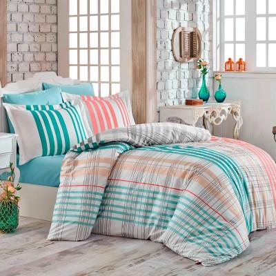 Комплект постельного белья поплин «Stripe» зеленый Hobby