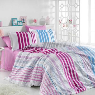 Комплект постельного белья поплин «Stripe» фуксия Hobby