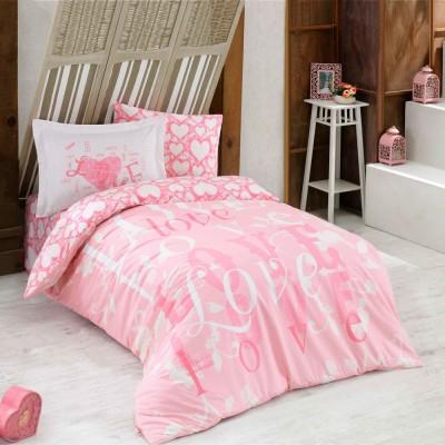 Комплект постельного белья поплин «Love» розовый Hobby