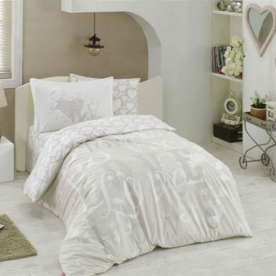Комплект постельного белья поплин «Love» серый Hobby