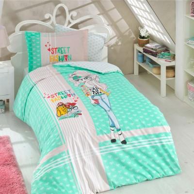 Комплект постельного белья поплин «Street Fashion» мятный Hobby