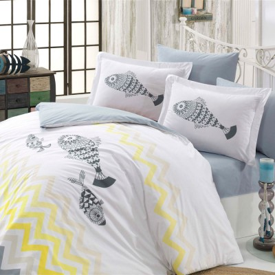 Комплект постельного белья поплин «Ocean» желтый Hobby