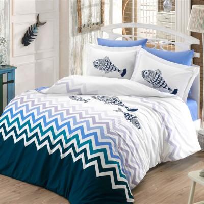 Комплект постельного белья поплин «Ocean» синий Hobby