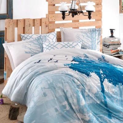 Комплект постельного белья сатин «Exclusive Sateen Alandra» голубой | Hobby