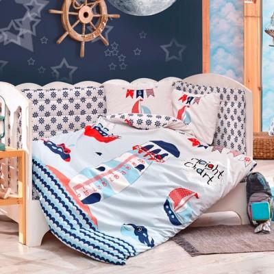 Детский комплект постельного белья поплин «Baby Sailor» голуб Hobby