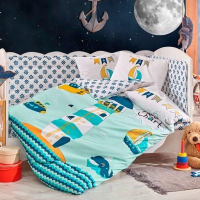 Детский комплект постельного белья поплин «Baby Sailor» зеленый Hobby