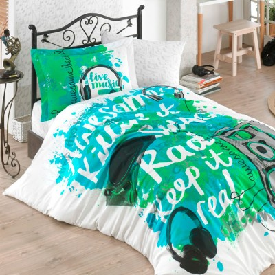 Комплект постельного белья поплин «Love Music» зеленый Hobby