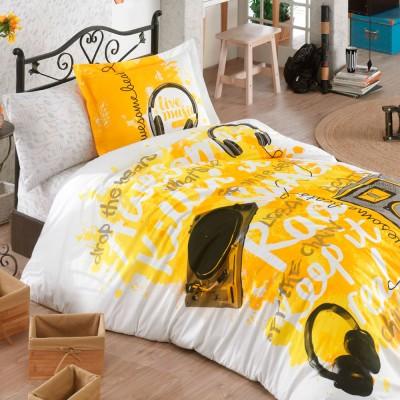 Комплект постельного белья поплин «Love Music» желтый Hobby