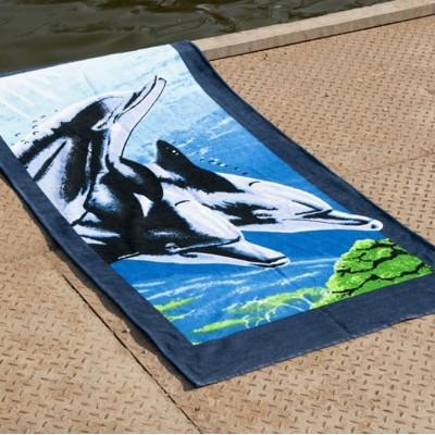 Полотенце пляжное велюр «Dolphins» 75*150 | Lotus