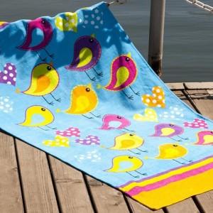 Полотенце пляжное велюр «Birds» оранжевый 75*150 | Lotus