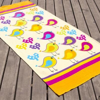 Полотенце пляжное велюр «Birds» желтый 75*150 | Lotus
