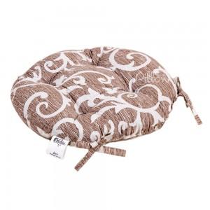 Подушка на стул «Jaco с завязками кофе» круглая 40 | Lotus