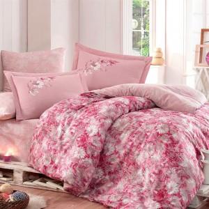 Комплект постельного белья сатин «Romina» евро   розовый   Hobby